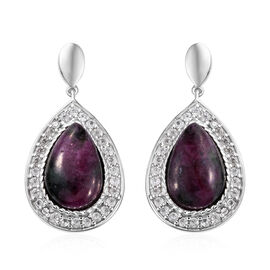 Ruby Zoisite (Pear 14x9 mm), Natural Cambodian Zircon Earrings (with Push Back) in Platinum Overlay