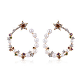 GP Freshwater Pearl (Rnd), Multi Gemstone Earrings (with Push Back) in 14K Gold Overlay Sterling Silver, Silver wt 6.96 Gms