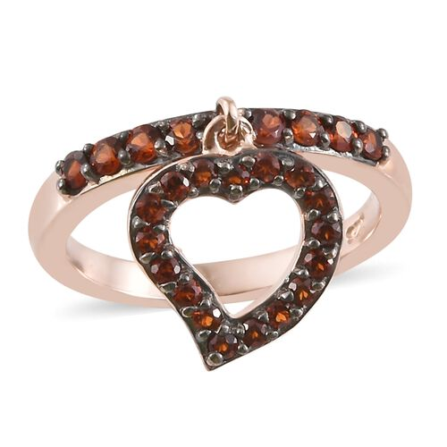 Mozambique Garnet (Rnd) Heart Charm Ring in Rose Gold Overlay Sterling Silver 0.750 Ct.