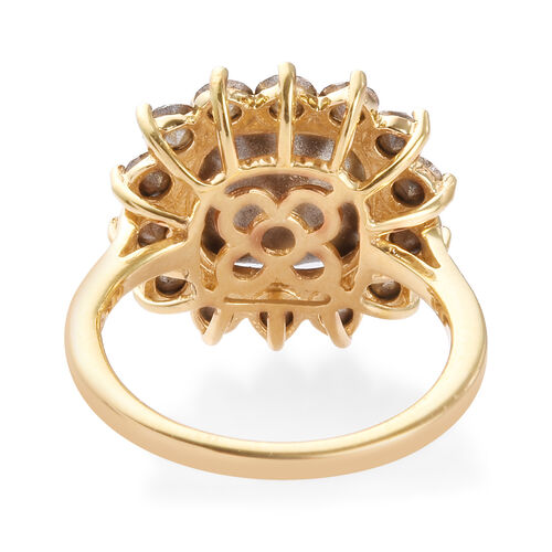 J Francis Crystal from Swarovski Vitrail Medium Crystal and White Crystal Halo Ring in 14K Gold Overlay Sterling Silver