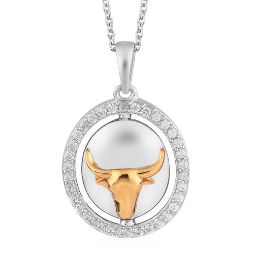 Natural Cambodian Zircon Zodiac-Taurus Pendant with Chain (Size 20) in Yellow Gold and Platinum Over