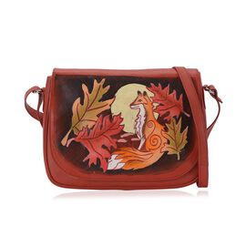 100% Genuine Leather RFID Protected Hand Painted Fox at Jungle Crossbody Bag (Size 28.5x20.5x6 Cm) w