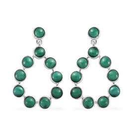 GP Malachite (Rnd), Blue Sapphire Dangle Earrings (with Push Back) in Platinum Overlay Sterling Silv
