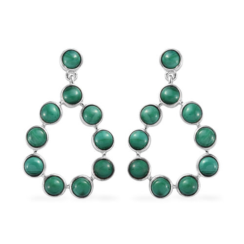 GP 7.65 Ct Malachite and Blue Sapphire Dangle Earrings in Platinum Plated Sterling Silver