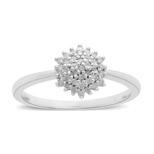 9K White Gold SGL Certified Diamond (Rnd) (I3/G-H) Cluster Ring 0.200 Ct.