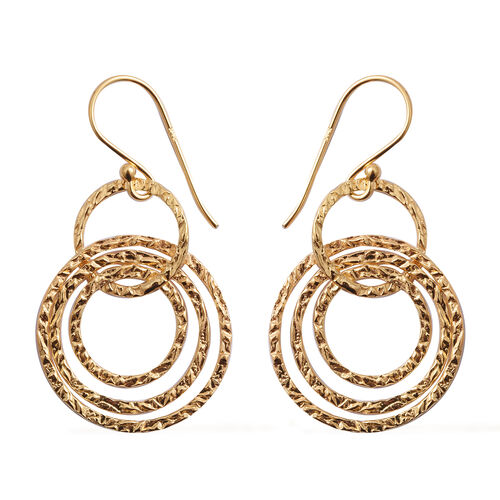 Close Out Deal- Yellow Gold Overlay Sterling Silver Spiral Round Hook Earrings