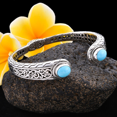 Arizona Sleeping Beauty Turquoise Filigree Cuff Bangle (Size 7) in Sterling Silver 4.73 ct, Silver wt 30.00 Gms