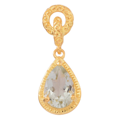 Green Amethyst (Pear) Drop Pendant in 14K Gold Overlay Sterling Silver 3.250 Ct.
