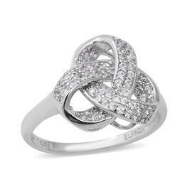ELANZA Simulated Diamond (Rnd) Triple Knot Ring in Rhodium Overlay Sterling Silver, Silver wt 4.10 G