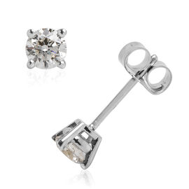 ILIANA 18K White Gold IGI Certified (SI2/H) Diamond (Rnd) Stud Earrings (with Push Back) 0.500 Ct.