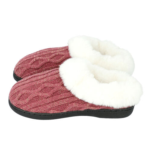 Knitted Slippers with Faux Fur (Size M: 5-6) - Burgundy