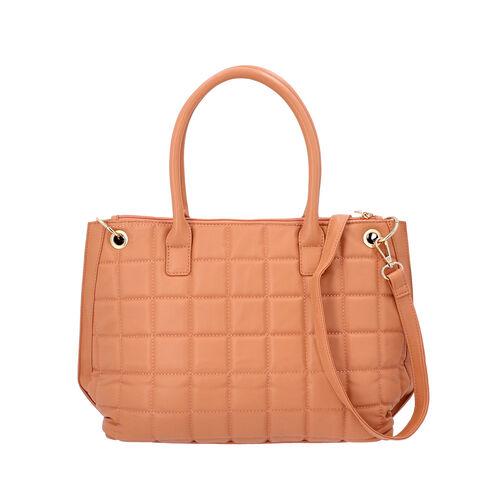 Quilted Pattern Satchel Bag with Detachable Shoulder Strap and Zipper Closure (Size 32x14x26 Cm) - P