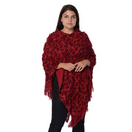 Leopard Pattern Winter Poncho with Tassels (Size 65x80 Cm) - Wine and Black