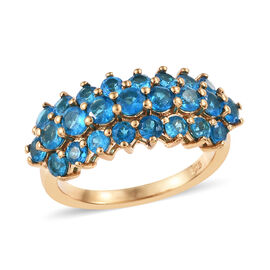 Malgache Neon Apatite (Rnd) Ring in 14K Gold Overlay Sterling Silver 2.00 Ct.