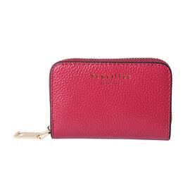 Sencillez - Genuine Leather Card Holder Wallet with Zipper Closure (Size 11x2x7cm) - Burgundy