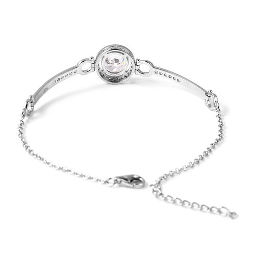 ELANZA Simulated Diamond (Rnd) Bracelet (Size 7 with 1 inch Extender) in Rhodium Overlay Sterling Silver, Silver wt 3.26 Gms