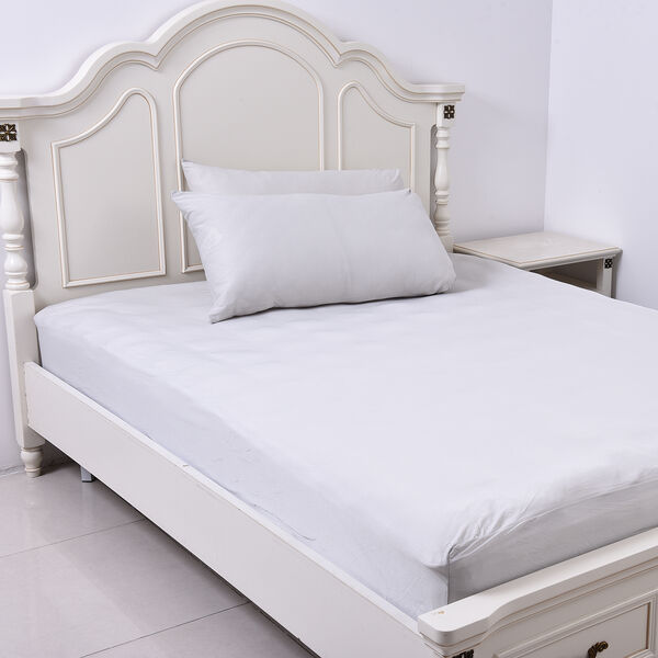 4 Piece Set - Cooling 1 Flat sheet (230x265cm), 1 Fitted Sheet (140x190+30cm) and 2 Pillowcases (50x75cm) (Size Double) - Light Grey