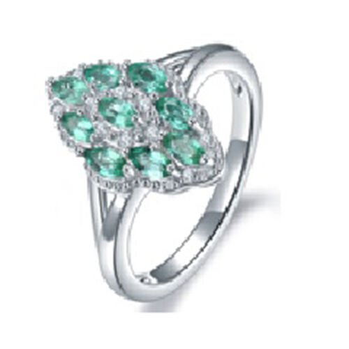 1.05 Ct AAA Kagem Zambian Emerald and Diamond Cluster Ring in Rhodium Plated Sterling Silver