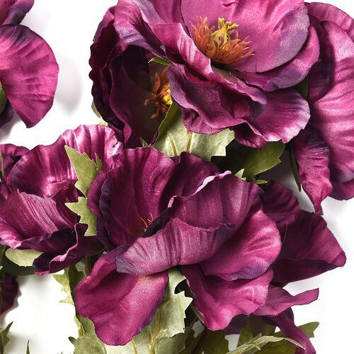 High Quality Realistic Faux Poppy Flowers - Burgundy - 4 Stems