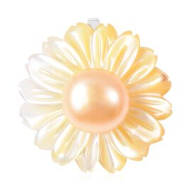 Yellow Mother of Pearl and Freshwater Golden Pearl Flower Pendant in Rhodium Plated Silver