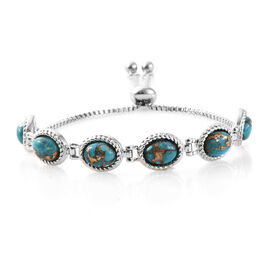 One Time Deal- Mojave Blue Turquoise (Ovl) Adjustable Bracelet (Size 6.5 - 9) in Stainless Steel 9.000 Ct.