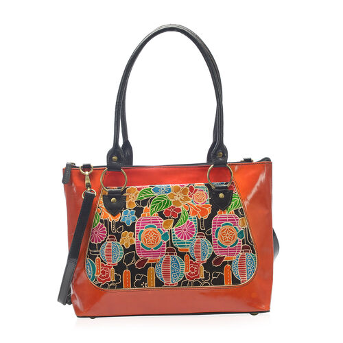 Japanese Art Collection 100% Genuine Leather Hand Painted Orange and Multi Colour Embossed Floral and Japanese Lantern Print Shoulder Bag with Removable Shoulder Strap (Size 40x25.4x11.43 Cm)