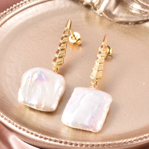 White Baroque Pearl Earrings (with Push Back) in Yellow Gold Overlay Sterling Silver