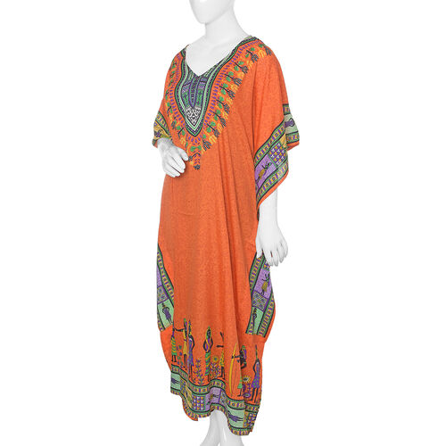 Orange, Purple, Yellow and Multi Colour Flower with Egypt Pattern Full Length Apparel (Size 125x70 Cm)