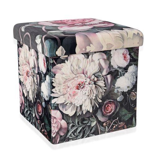 Pink Gardenia Flower Printed Velvet Foldable Storage Ottoman (Size 38x38x38 cm)