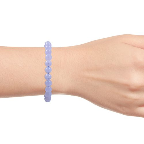 Limited Available - Blue Lace Agate (Rnd) Beads Bracelet (Size 7.5 - 10.5) in Rhodium Overlay Sterling Silver 88.000 Ct.