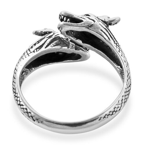 Sterling Silver Dragon Bypass Ring, Silver wt 5.32 Gms
