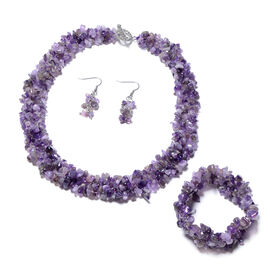 3 Piece Set Amethyst Beaded Necklace 18 Inch and Stretchable Bracelet 7 Inch with Hook Earrings