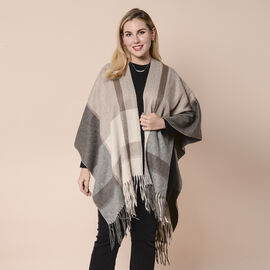Brown and Grey Plaid Pattern Kimono with Tassels and Belt (115x82+13cm)