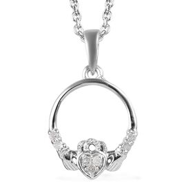 Diamond Claddagh Pendant with Chain (Size 18) in Platinum Overlay Sterling Silver.