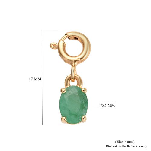 Emerald Sagota (Ovl 7x5) Charm in 14K Gold Overlay Sterling Silver 0.750 Ct.