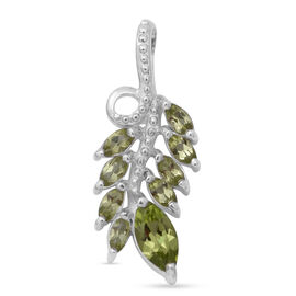 Natural Hebei Peridot Leaf Pendant in Sterling Silver 1.17 Ct.