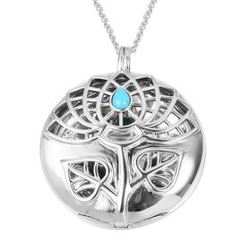 RACHEL GALLEY Arizona Sleeping Beauty Turquoise (Pear) Tree of Life Pendant with Chain (Size 30) in