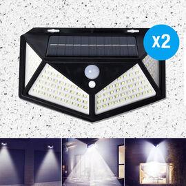 2 Piece Set- 114 LED Solar Powered PIR Motion Sensor Waterproof Outdoor Wall Light (Size 18.5x12.5x6