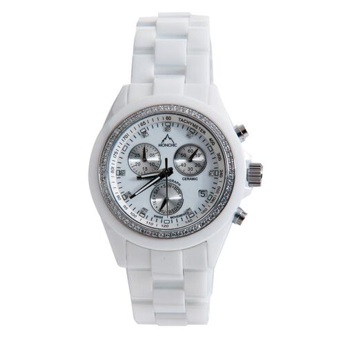 Close Out Deal - MONCHIC Swiss Movement High Tech. Ceramic Chronograph Swarovski and Diamond Studded, Sapphire Crystal Glass Watch 0.305 Ct.