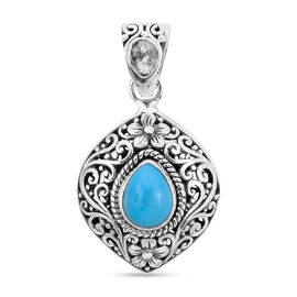 Royal Bali Collection Arizona Sleeping Beauty Turquoise Diamond Pendant in Sterling Silver 1.570 Ct.
