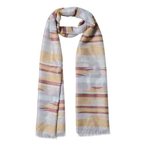 Yellow, Red and Multi Colour Strip Shape Pattern Scarf (Size 192x70 Cm)