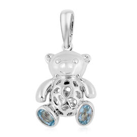 RACHEL GALLEY Sky Blue Topaz (Ovl 6x4 mm) Pendant in Rhodium Overlay Sterling Silver 1.171 Ct, Silve