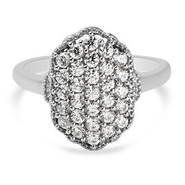J Francis Platinum Overlay Sterling Silver Cluster Ring Made with SWAROVSKI ZIRCONIA 1.27 Ct.