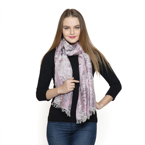 Lilac and Pink Colour Abstract Pattern Scarf (Size 180x70 Cm)