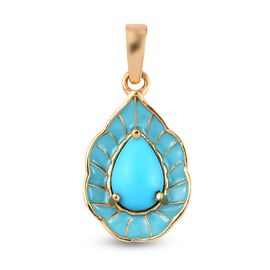 Sleeping Beauty Turquoise Main Stone With Side Stone Pendant in 14K Gold Overlay Sterling Silver 1.3