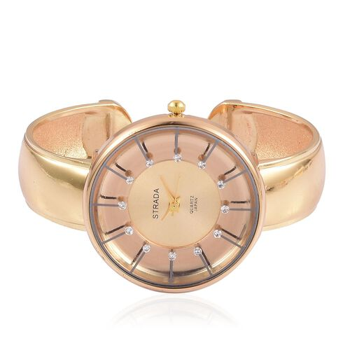 STRADA Japanese Movement Water Resistant Golden Plated Bangle Watch with Studded White Austrian Crystal