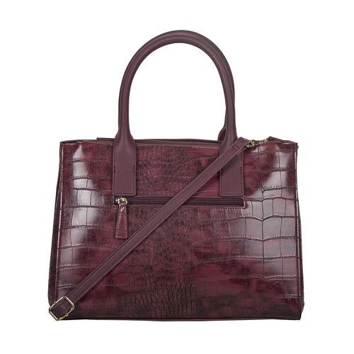 Bulaggi Collection Iris Croco Shopper Bag - Burgundy