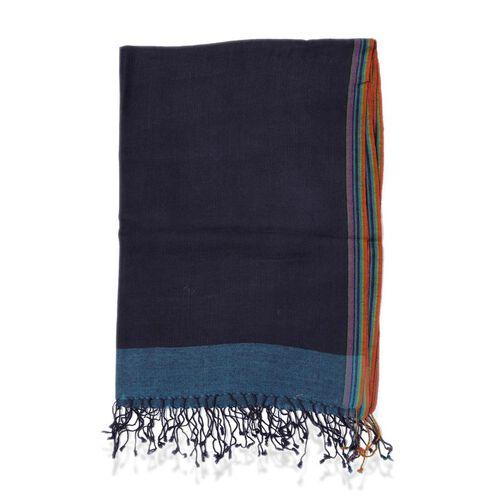 100% Wool Navy Border Scarf (Size 70x180)
