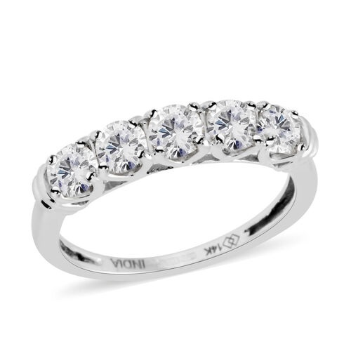 New York Close Out 1 Carat Diamond 5 Stone Ring in 14K White Gold 2.18 Grams I2 GH