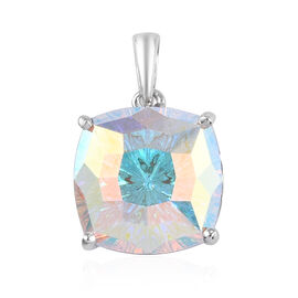 J Francis Crystal from Swarovski AB Crystal Solitaire Pendant in Platinum Overlay Sterling Silver